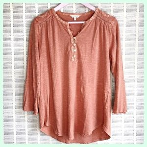 Lucky Brand Pink Embroidered Top